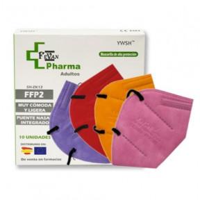 10 X Mascarilla FFP2 colores variados norma EN149:2001 filtrado respiratorio marcado CE
