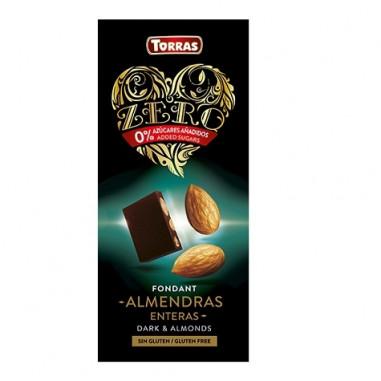 Chocolate Negro con Almendras Enteras sin Azúcar Torras 150g