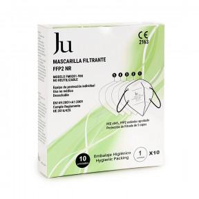 Boîte de 10 Masques JU FFP2 standard EN149: 2001+A1:2009 Filtrage respiratoire marqué CE