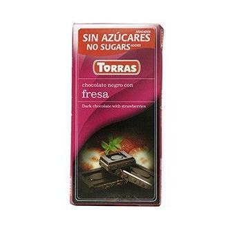 Chocolate Negro con Fresas sin Azúcar Torras 75 g