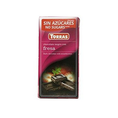 Black Chocolate with Strawberries Sugar Free 75g Torras