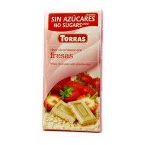 White Chocolate with Strawberries Sugar Free Torras 75 g