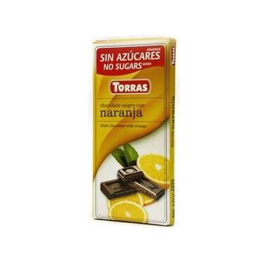 Chocolate Negro con Naranja sin Azúcar Torras 75g