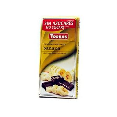 Chocolate Preto com Banana Sugar Free Torras 75g