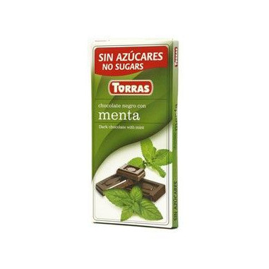 Dark Chocolate with Mint Sugar Free Torras 75g