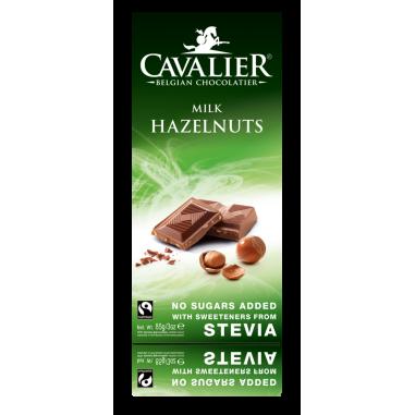 Chocolate com leite e avelãs Belga com estévia Cavalier 85 g