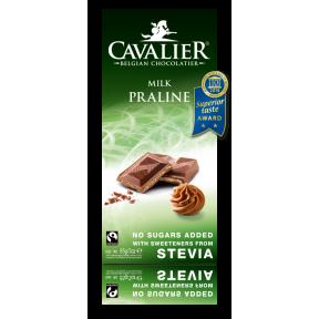 Cavalier Belgium milk Chocolate with praline and stevia 85 g