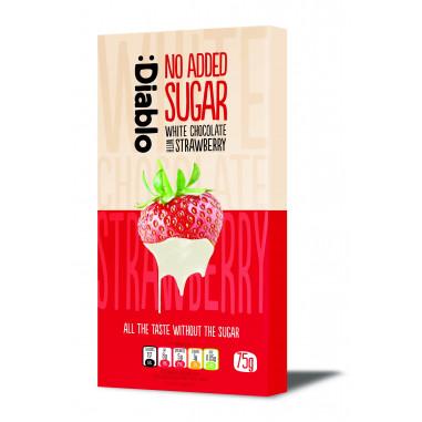 White chocolate bar with strawberry no added sugar :Diablo 75 g