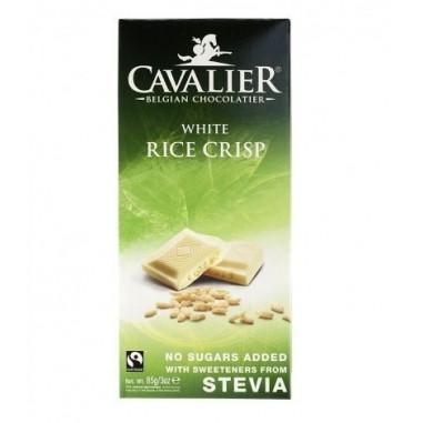 Chocolate Blanco Belga con arroz crujiente con Estevia 85 g Cavalier