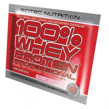 100% Whey Professional Scitec Nutrition chocolat blanc fraise unidose Monodosis 30 g