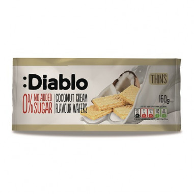 Bolachas Finas Recheadas com sabor Creme de Coco sem Adição de Açúcar :Diablo 110 g