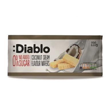 Barquillos Rellenos sabor Crema de Coco sin Azúcares Añadidos :Diablo 220 g