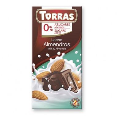 Chocolate com Leite e Amêndoas Sugar Free Torras 75g