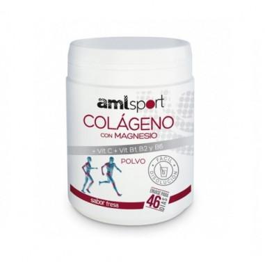 Colágeno Con Magnesio + Vitamina C + Vitaminas B1, B2 y B6 en Polvo Sabor Fresa AMLSport 350 g