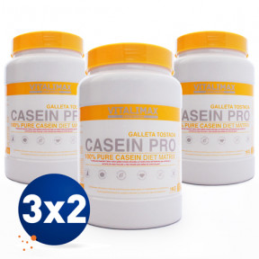Pack 3x2 Casein Pro 100% Proteína de Caseinato Cálcico Galleta Tostada 1 kg Vitalimax Nutrition