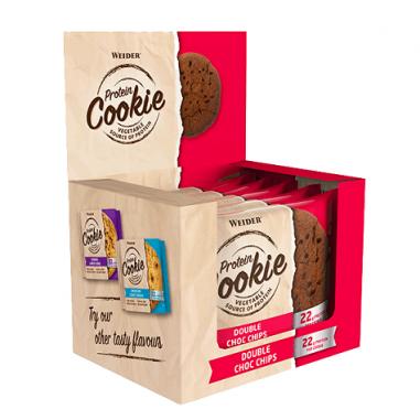 Caixa 12 x 90 g Weider Protein Cookie Chocolate Duplo