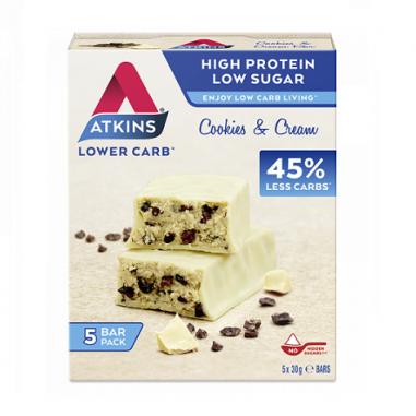 Advantage Bar goût Cookies & Cream Atkins 5x30 g