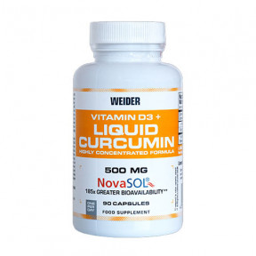 Complemento alimenticio Cúrcuma líquida más Vitamina D3 Weider 90 cápsulas
