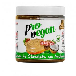 Crema Provegan de chocolate blanco con avellanas y trozos de coco Protella 250g