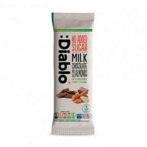 Tableta de chocolate con leche y almendras con Stevia :Diablo 75 g