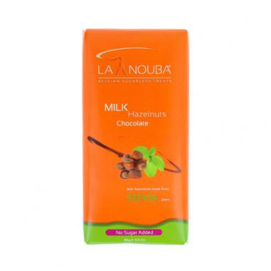 Tablette faible en glucides de chocolat au lait et noisettes avec Stevia LaNouba 85g