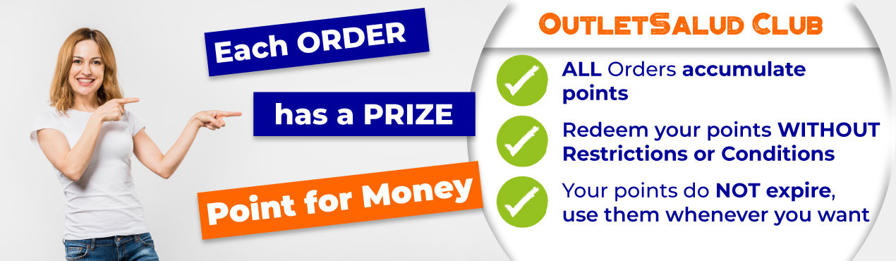Get points from the OutletSalud Club with each order and redeem them for money whenever you want