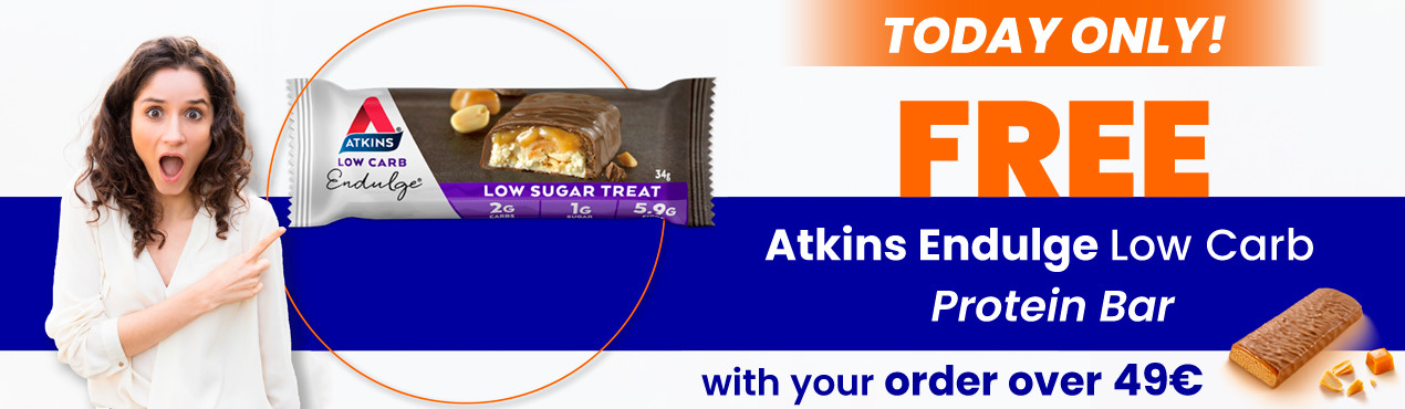 With your order today over 49 euros you get the low-carbohydrate protein bar from Atkins Endulge
