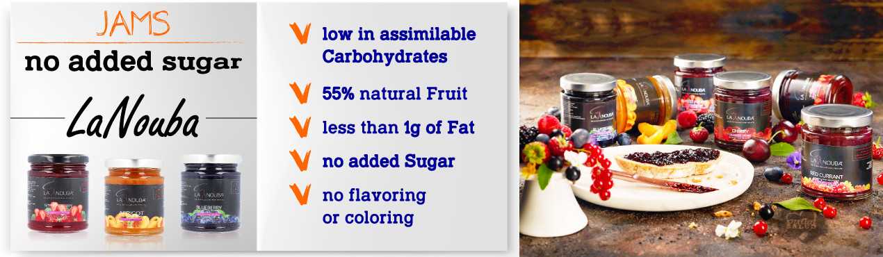 New LaNouba low carbohydrate jams, made with natural fruit without added sugars, ideal for a healthy diet