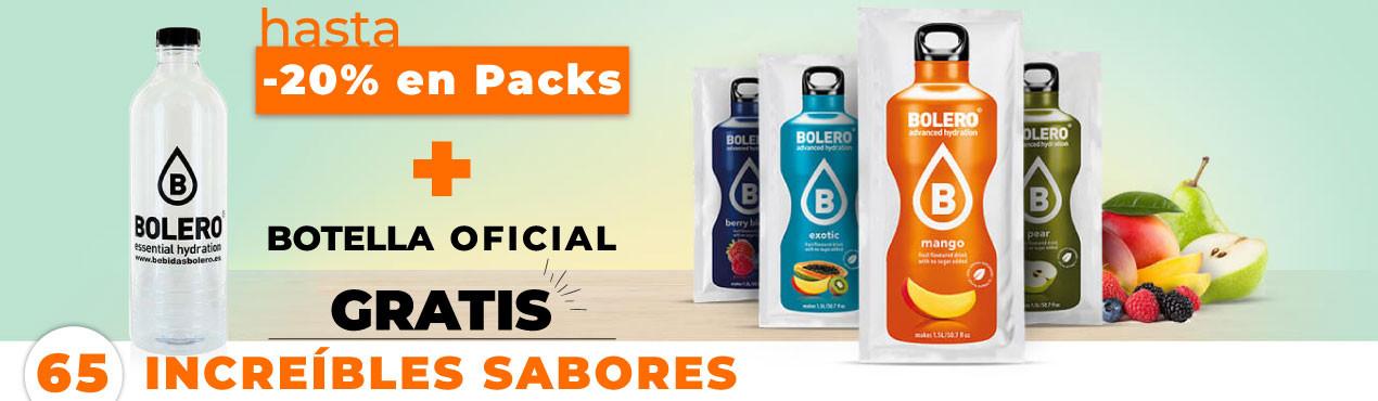Stock total en Bebidas Bolero con descuentos hasta el -20% en packs y botella oficial de regalo